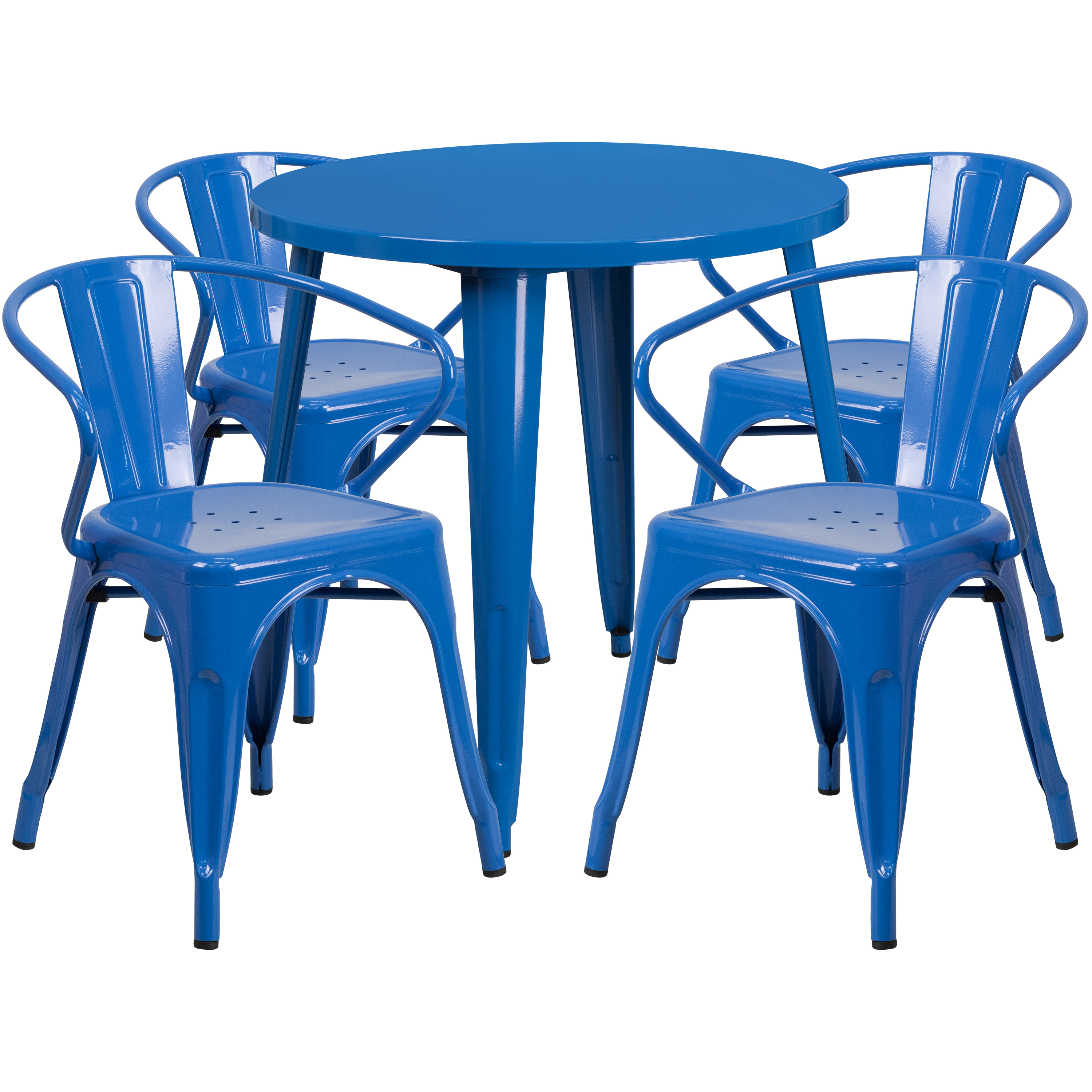 """Flash Furniture 30"""" Round Metal Indoor-Outdoor Table Set with 4 Arm Chairs, Multiple Colors"""