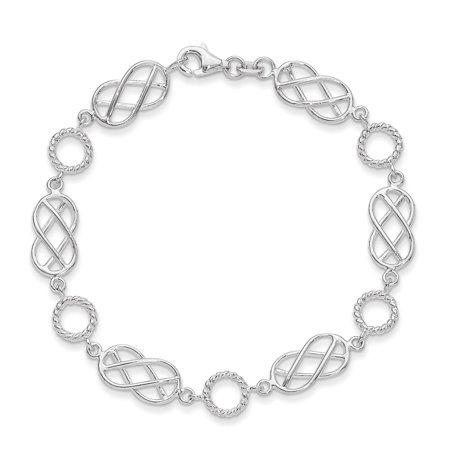 925 Sterling Silver Pretzel & Circle Designer Fashion Bracelet 7.25