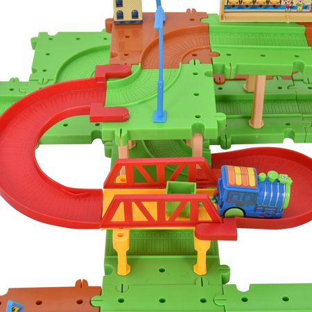 Costway 77PCS B/O Kids Child Plastic Brick Toys Electronic Building Blocks Railway Train - image 5 de 9