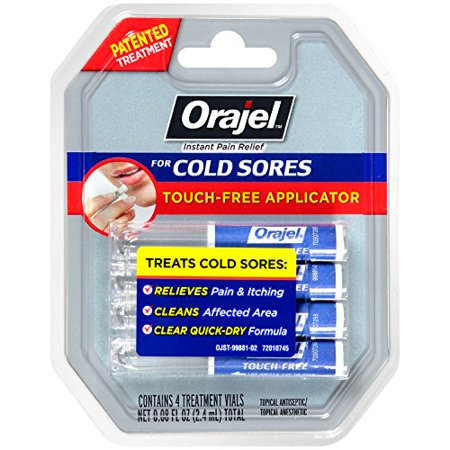 2 Pack Orajel Touch-Free Applicator for Cold Sores, 4 Treatment Vials (Best Cold Sore Treatment Over The Counter)