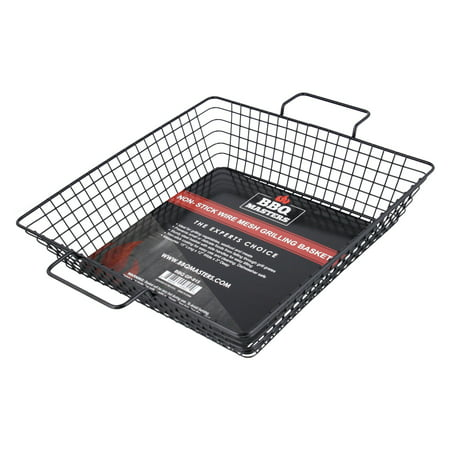 BBQ Masters Non-Stick Wire Mesh Grilling Basket - Grill Topper Barbecue Pan - Cook Vegetables, Seafood, Meats (Parts For Master Forge Grill)