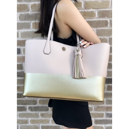 0b7482ba4ae Tory Burch - Tory Burch Perry Leather Tote Colorblock Light Oak Pink Gold  Tassel Large Bag - Walmart.com