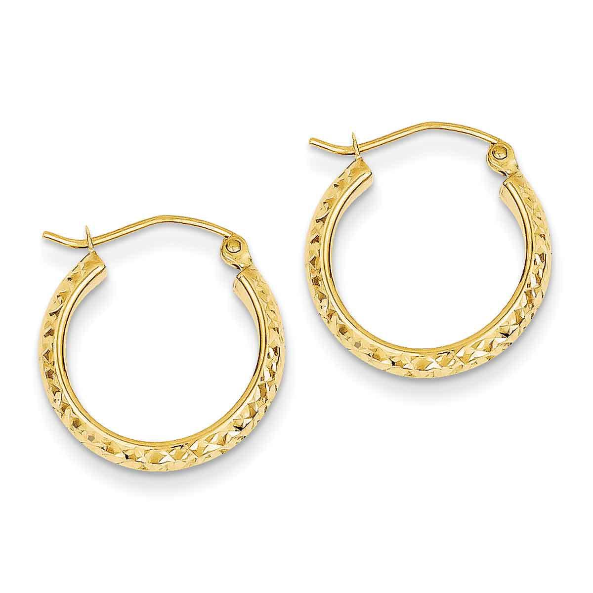 14K White Gold Diamond-cut 3.5x28mm Hollow Hoop Earrings