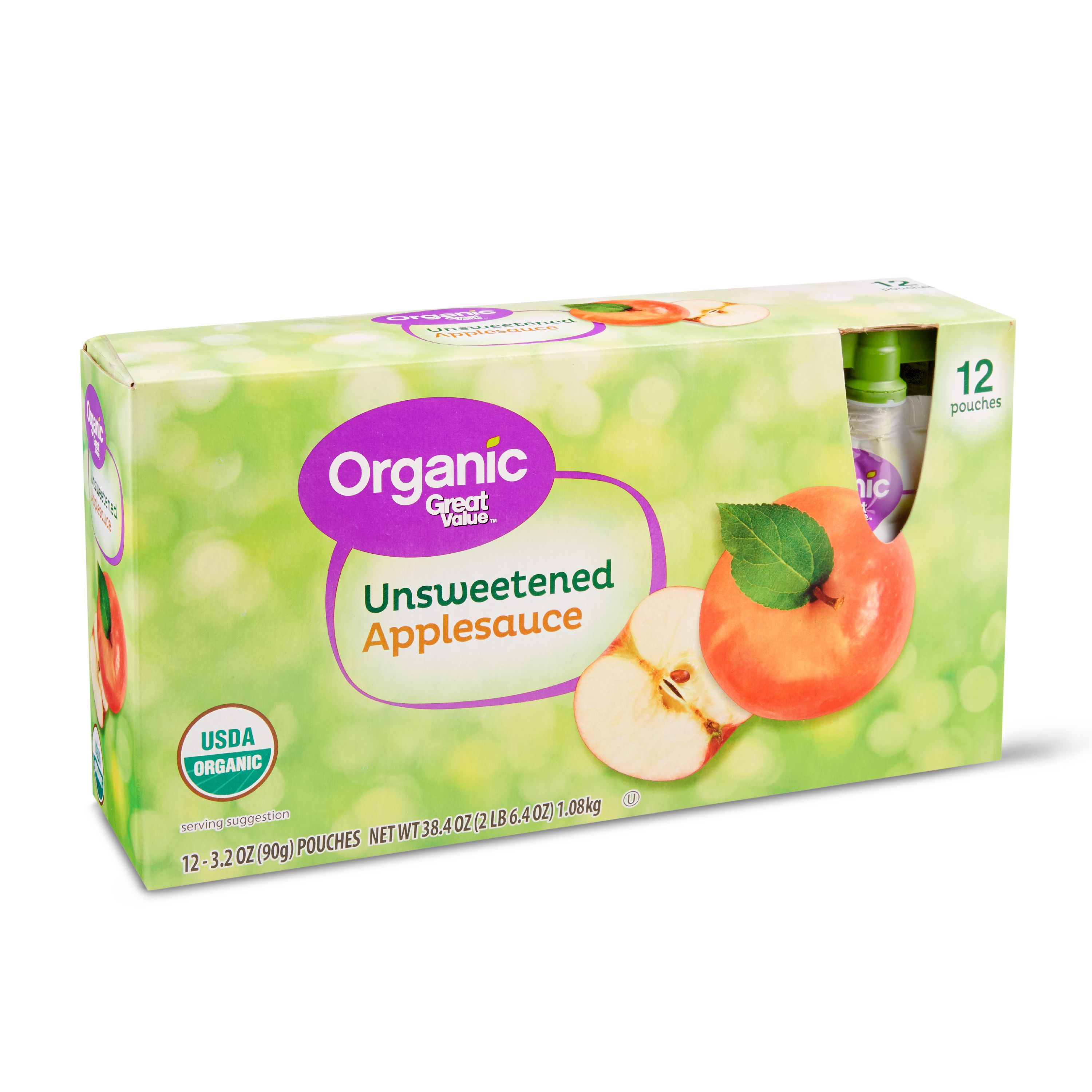 Great Value Organic Applesauce Pouches, Unsweetened, 3.2 oz, 12 Count