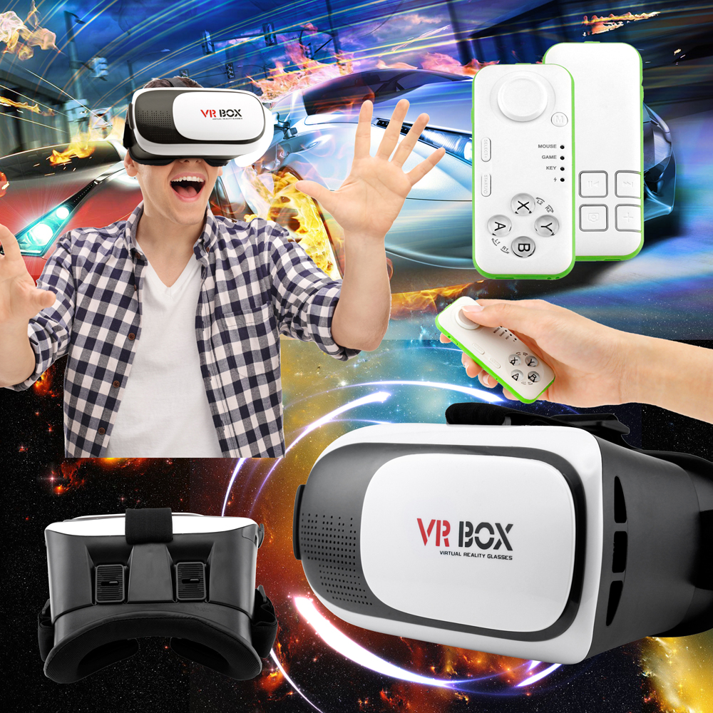 VR 2.0 2nd Gen Virtual Reality 3D Glasses Goggles Headset with Bluetooth control remote For Smartphone IOS Android Iphone 7 6 plus Samsung Galaxy S6 Edge+