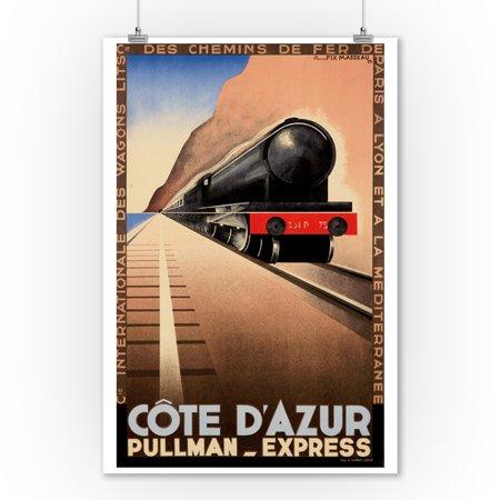Cote d'Azur - Pullman - Express Vintage Poster (artist: Fix Masseau, Pierre) France c. 1929 (9x12 Art Print, Wall Decor Travel