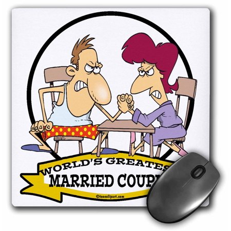 3dRose Funny Worlds Greatest Married Couple Sarcasm Cartoon - Mouse Pad, 8 by 8-inch - Greatest Couples