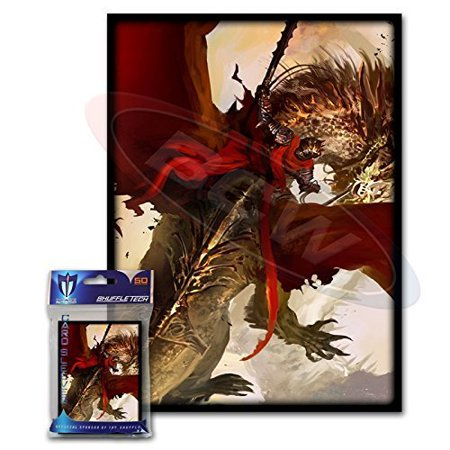 Trading Card Set Sleeves - (50) Crimson Rider Design Large Gaming Trading Card Protector Sleeves for Magic the Gathering, Pokemon, World of Warcraft, Kaijudo Duel Masters and Cardfight Vanguard Cards By Max Protection