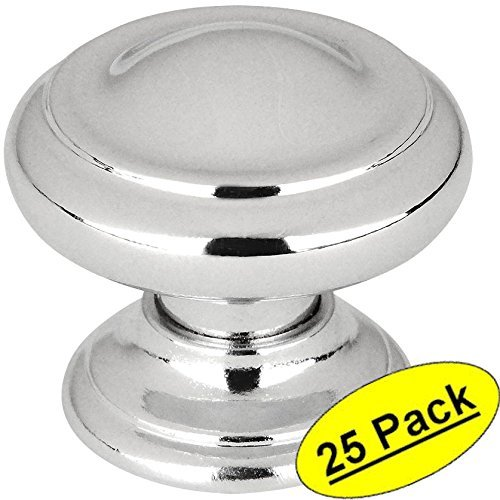 "Cosmas 3317CH Polished Chrome Cabinet Hardware Round Knob - 1-3/16"" Diameter - 25 Pack"