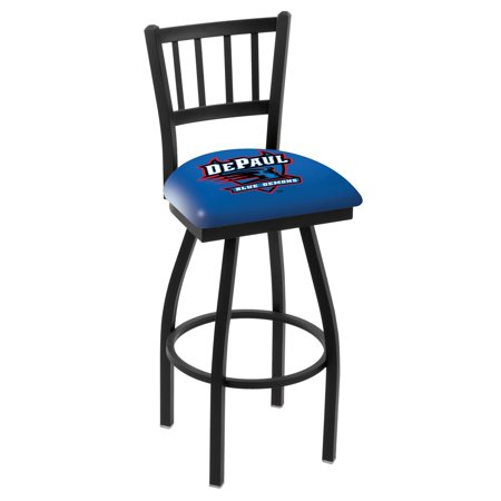 Logo Fabric Bar Stool - DePaul Bar Stool w/ Blue Demons Logo Swivel Seat - 36