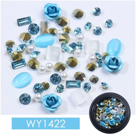 Fashion Mixed Colorful Rhinestones Gemstone Beads Nails Kits Crystal Stones Rose Shape DIY 3D Nail Art Decorations