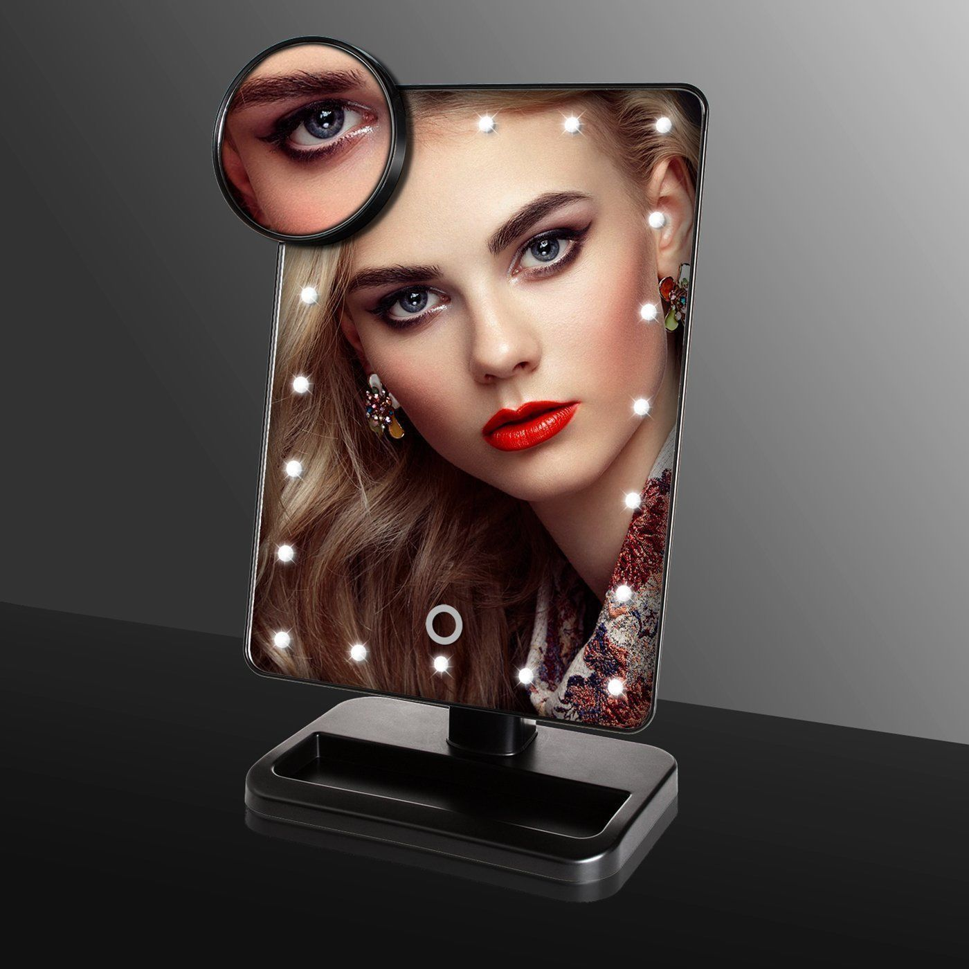 Click here to buy Estink LED Light Makeup Mirror, Adjustable Touch Screen 10x Magnification with 22 LED... by Estink.