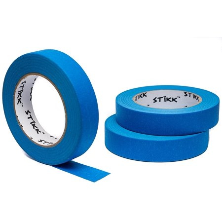 3pk 1 x 60yd STIKK Blue Painters Tape 14 Day Clean Release Trim Edge Finishing Masking Tape .94 IN 24MM 3 Pack