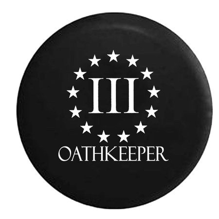 3% Oathkeeper Stars US Flag Constitution Military Spare Tire Cover Vinyl Black 31 in
