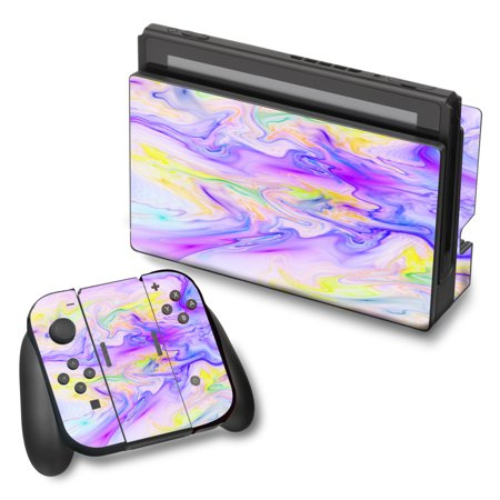 Skin Decal For Nintendo Switch Vinyl Wrap / Pastel Marble Resin Pink Purple Swirls - Purple Swirl