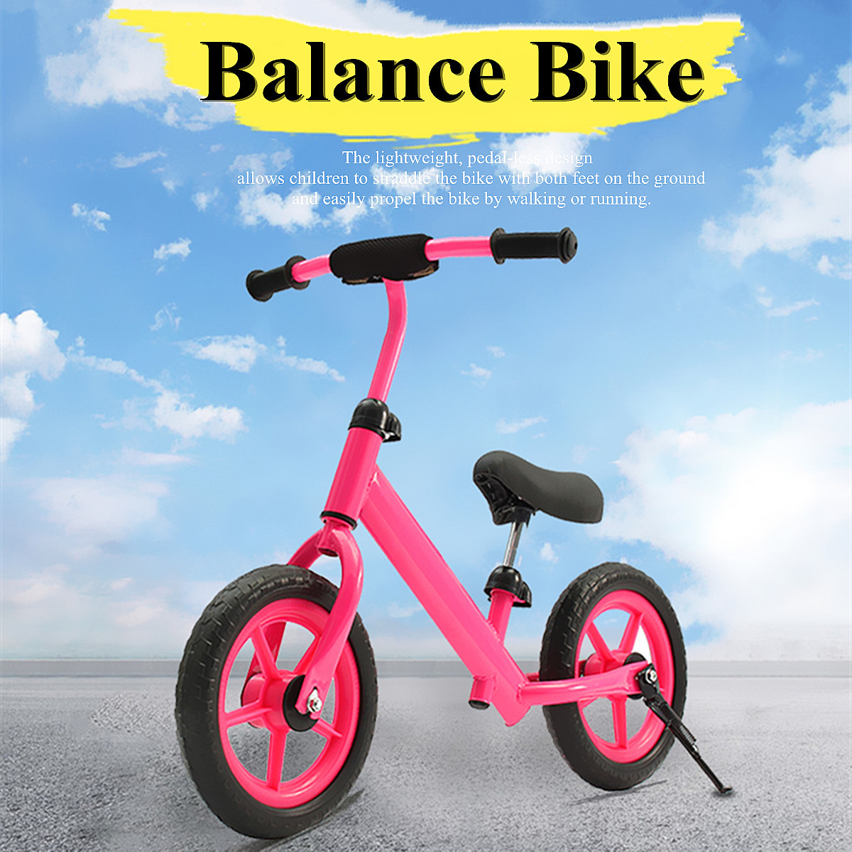 12'' Balance Bike Classic Kids No-Pedal Learn To Ride Pre Bike w/ Adjustable Seat
