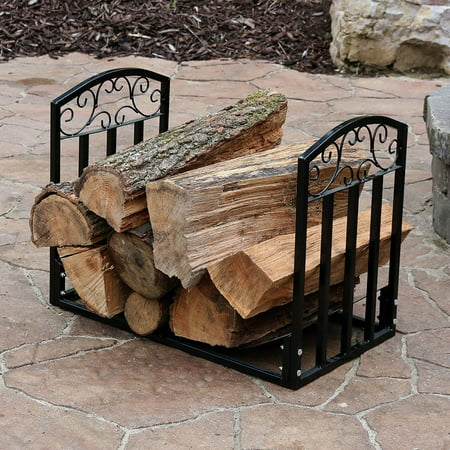 Sunnydaze Indoor/Outdoor Firewood Log Rack, Decorative Fireplace Wood Storage Holder, 2-Foot, Black ()