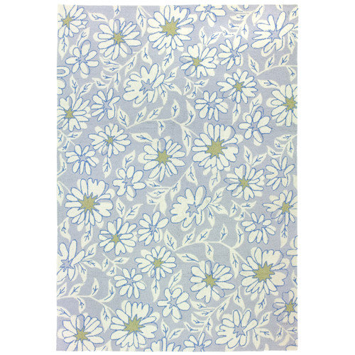 Homefires Floral and Garden Blue/Green Daisies Area Rug