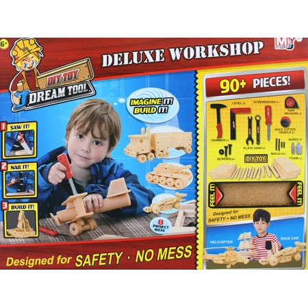 90+ Pieces DIY Deluxe Foam Wood Construction Tool Workshop Kit For Kids ,Craft your own fun with this deluxe workshop! - Diy Wood Crafts