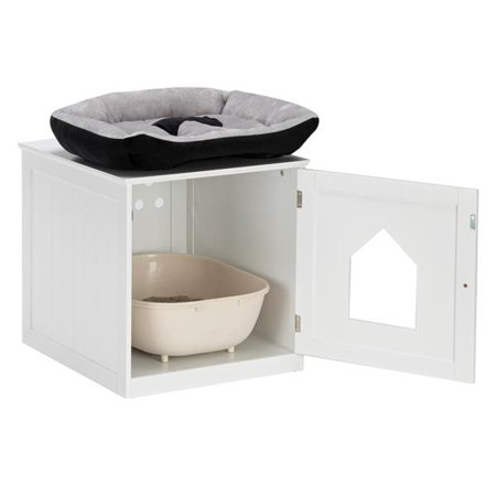 FCH litter box enclosure, Nightstand Pet House, Cat Home Nightstand, Indoor Pet Crate, Cat Washroom, Litter Box Cover with Sturdy Wooden Structure-White
