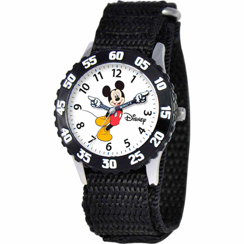 Disney Mickey Mouse Boys' Stainless Steel Watch, Black Strap