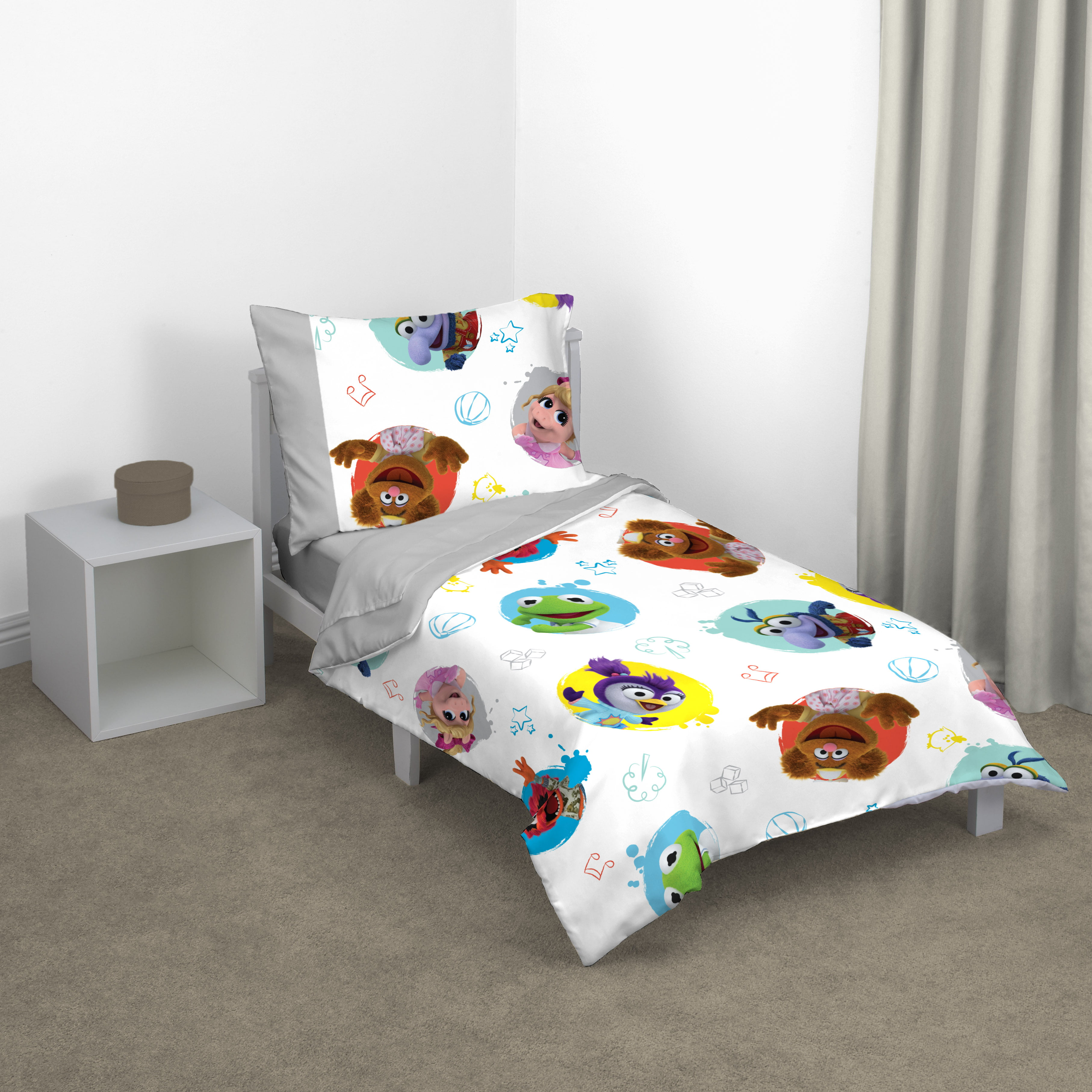 Blue//Red//Yellow//Green Disney Puppy Dog Pals 4 Piece Toddler Bed Set