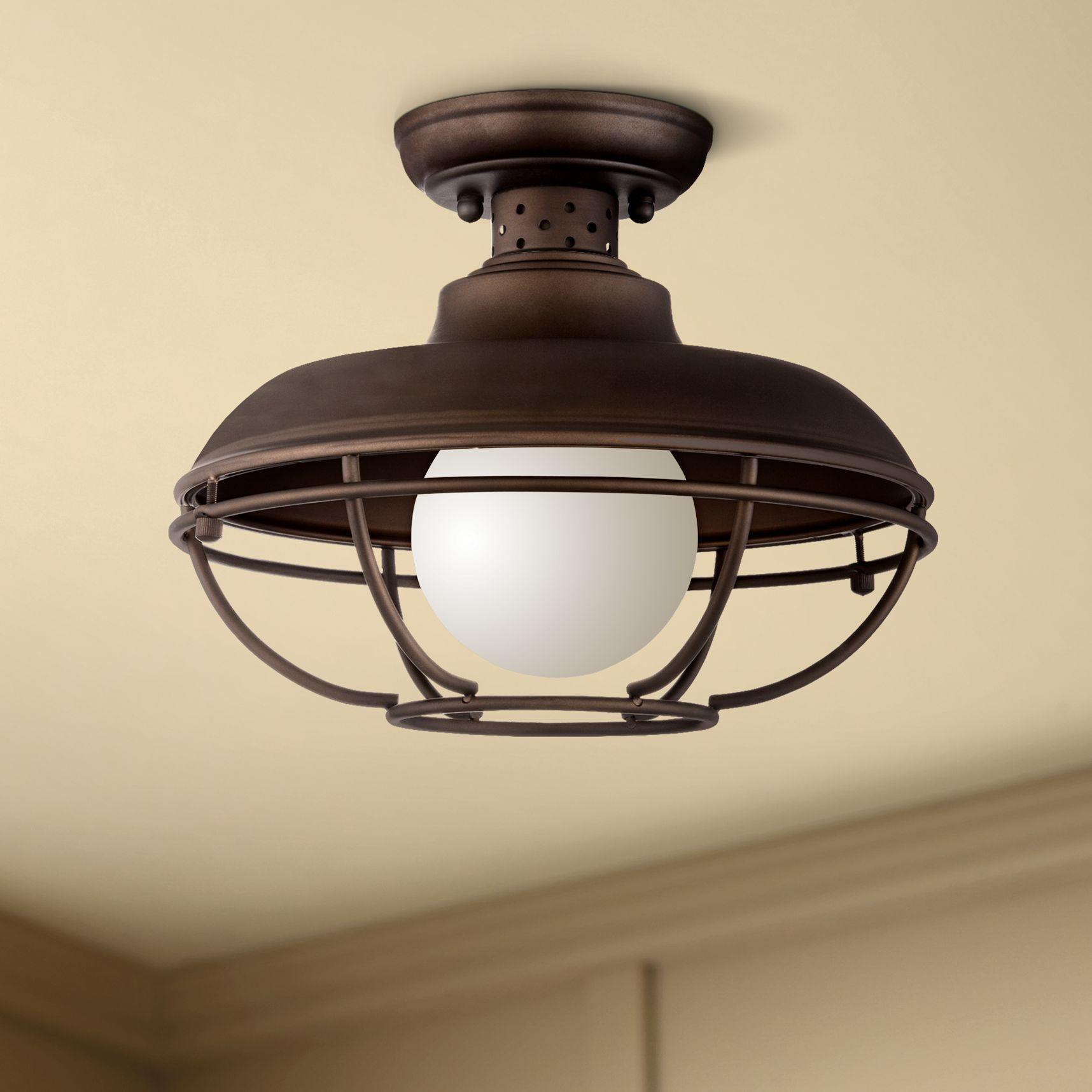 "Franklin Iron Works Franklin Park 12"" Wide Bronze Metal Cage Ceiling Light"