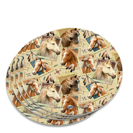 Framed Horses Selfie Picture Pattern Novelty Coaster Set