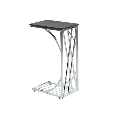 Sofa Side End Table - Metal Sides in Chrome or Black with Black or Walnut Top - C-Shaped Slides Up To Sofa Chair Recliner -Snacks Drinks TV Tray ()