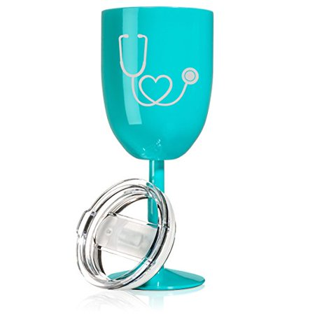 14 oz Double Wall Vacuum Insulated Stainless Steel Wine Tumbler Glass with Lid Nurse Doctor Heart Stethoscope (Teal) (Teal Wine Glasses)