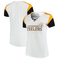 501c2cceab2 Product Image Women's Majestic White/Gold Pittsburgh Steelers Shimmer  Lace-Up V-Neck T-