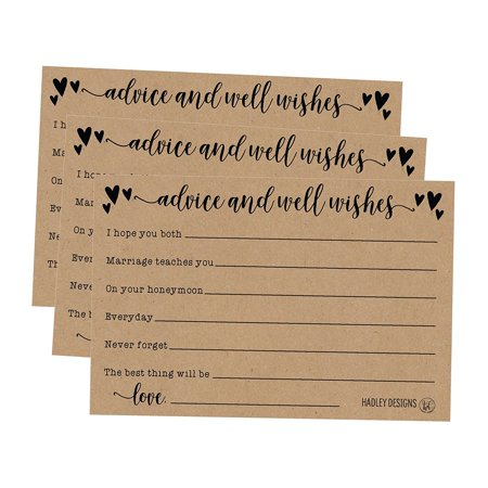 50 4x6 Kraft Rustic Wedding Advice & Well Wishes For The Bride and Groom Cards, Reception Wishing Guest Book Alternative, Bridal Shower Games Note Card Marriage Best Advice Bride To Be or For Mr & Mrs for $<!---->