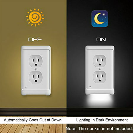Duplex Wall Outlet Cover with LED Night Lights Aisle Light Light-sensing Light with Photocell Sensor Suitable for Home Hotel Room Electrical Outlet Wall - Electrical Lighting Design