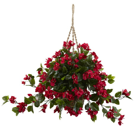 Nearly Natural Bougainvillea Hanging Basket UV Resistant