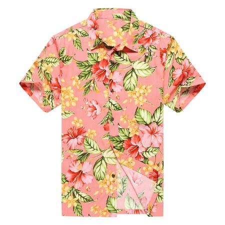 6bcf8e348 Hawaii Hangover - Made in Hawaii Men's Hawaiian Shirt Aloha Shirt Pink  Hibiscus with Green Leaf in Peach - Walmart.com