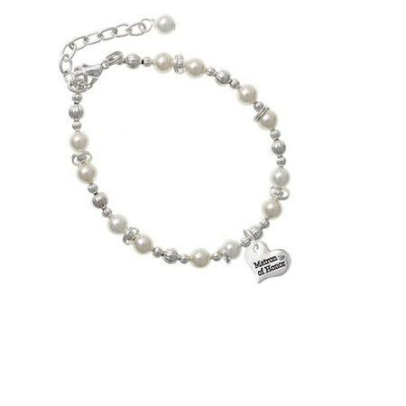 Silvertone Small Matron of Honor Heart Imitation Pearl Beaded Bracelet