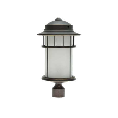"Aspen Creative 60005-2 One-Light Medium Outdoor Post Light Fixture with Dusk to Dawn Sensor, Transitional Design in Aged Bronze Patina, 20"" High"