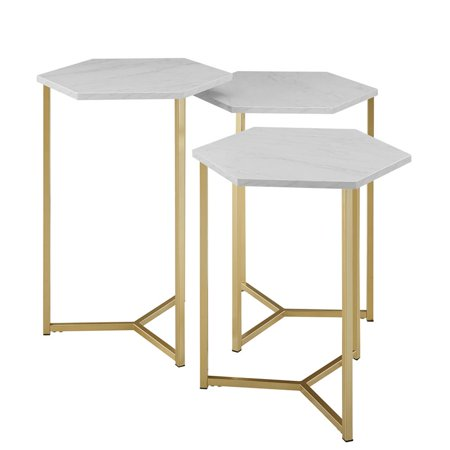 Spread Table Base - Hex Nesting Tables with Faux White Marble Top and Gold Base