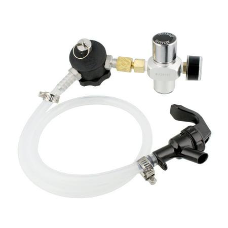 (Mini Growler Dispenser - CO2 Regulator for Draft Beer Keg w/ 2 Ft Hose and Spout)
