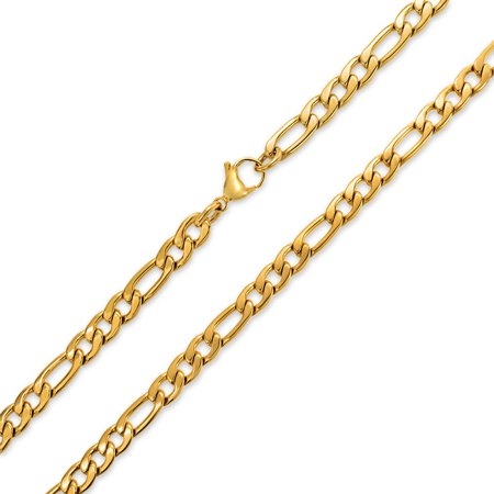 Mens Heavy Solid 7MM Gold Tone Stainless Steel Figaro Chain Necklace For Men For Teen 24 30 Inch (Solid Gold Figaro Chain For Men)