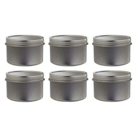 Metal Steel Tin Deep Container with Tight Sealed Twist Screwtop Cover - 2 oz (6 pack) + Labels