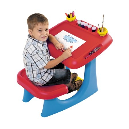 Keter Kids Sit and Draw Art Table Creativity Desk with Craft Storage and Removable Cups, Red/Blue - Children's Craft Table