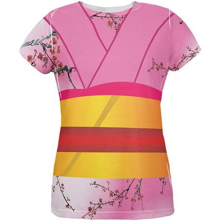 Halloween Pink Kimono Costume All Over Womens T Shirt](Kimono Geisha Costume)