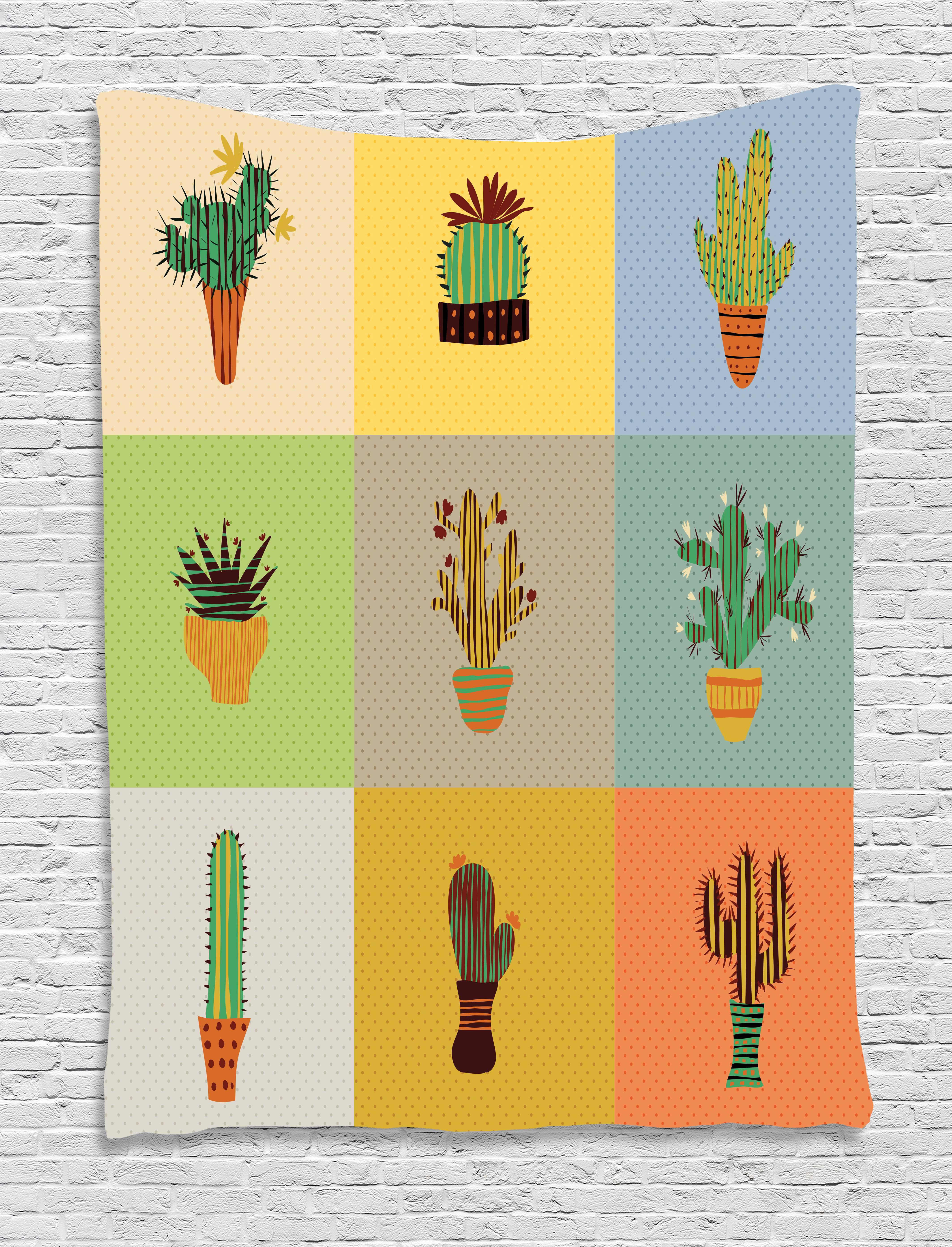 Vintage Tapestry, Botanical Cactus Flowers in Vase Succulent Peyote ...