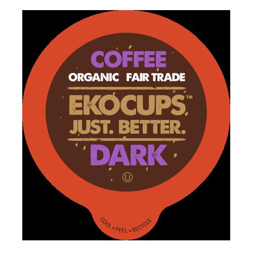 Ekocups Artisan Organic Dark Coffee Single Serve Cups, 40 Count