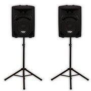 "Podium Pro PP810 Passive 8"" Speaker Pair and Stands 500W DJ PA Karaoke Home PP810SET1"
