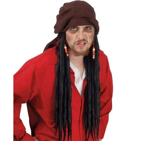 Loftus Men's Long Black Pirate Dreadlock Wig, Red Orange Yellow, One-Size](Dredlocks Wig)