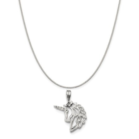 Sterling Silver Unicorn Charm on a Sterling Silver Box Chain Necklace, 20