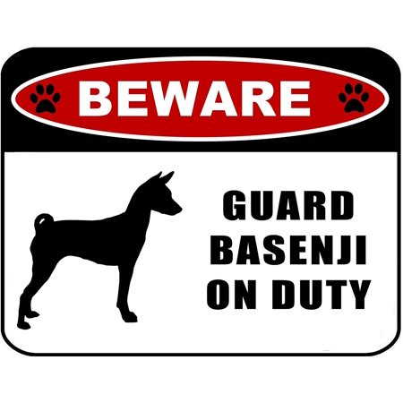 Basenji Silhouette Dogs (Beware Guard Basenji (Silhouette) on Duty 11.5 inch x 9 inch Laminated Dog)