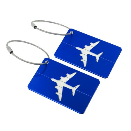 Outdoor Airport Luggage Handbag Name Address Message Label Tag Card Holder Royal Blue 2pcs Like Hang Tags
